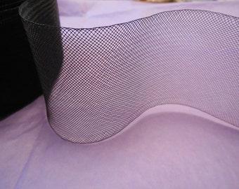 7.5cm Wide Black Crinoline horse hair braid flexible sinamay millinery hat trim. Sold by per Meter