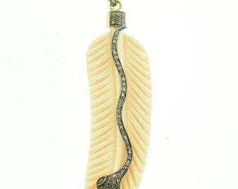 Pave Diamond in Sterling  Silver Bone Pendant