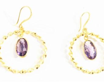 Amethyst vermeil earring