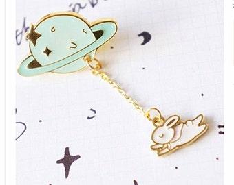enamel pin moon pins rabbit in space pin cute interstellar pin creative brooch pin metal pins Lapel Pin Brooch Planet