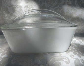 Westinghouse milk glass loaf pan with lid