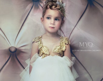 White flower girl, birthday girl, couture dress, hand made embroidery dress, application gold dress, tutu dress