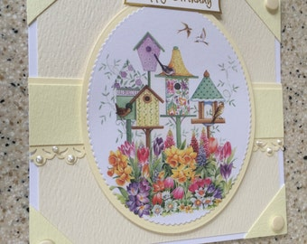 "Handmade Happy Birthday card pretty flowers and birdhouses lili of the valley creams and yellow 6"" square"