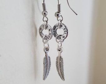 Bullet earrings with feather