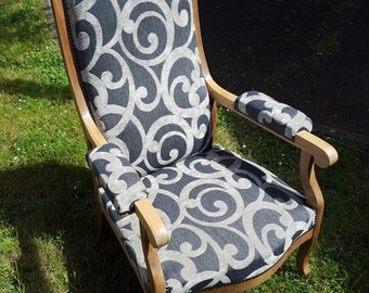 Restored and re-paper Voltaire Chair