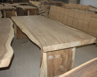 live edge suar wood dining table slab with wooden legs unfinished colour