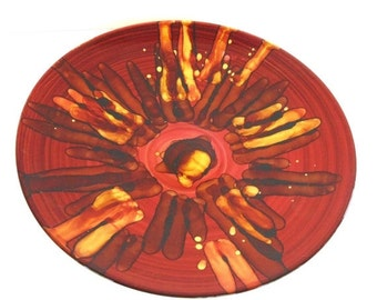 "15% OFF Vintage Art Glass Charger, Red and Gold Design, 15 1/2"", Absolutely Stunning!"