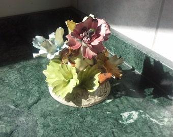 Capodimonte porcelain Flowers Candle stick, Vintage Candle Stick