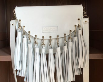 handbag with leather tassels