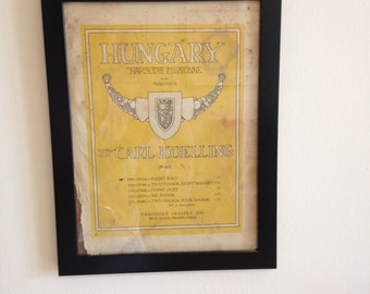 "Hungary ""Rapsodie Mignonne"" Framed Sheet Music Cover Page"