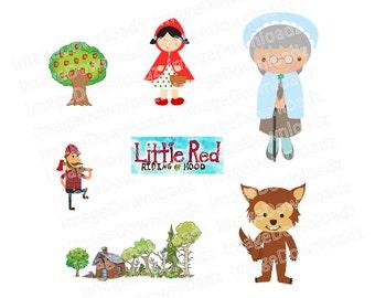 Little Red Riding Hood // Ridinghood // Granny // Wolf // Apple // Forest // Woods // Lumberjack // Woodcutter // Clip Art // Clipart
