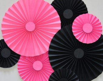 Pink and Black Rosettes, Party Decoration, Cake Backdrop, Photo Backdrop