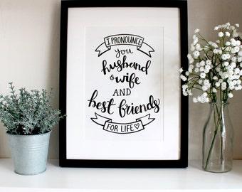 I Pronounce You Husband & Wife A4 Original Print (Free U.K. shipping)