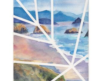 Original contemporary watercolor painting - Ecola Beach