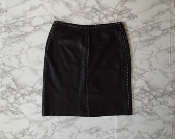 black leather mini skirt | white stitching detail | 90s leather mini