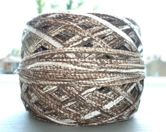 Hand Dyed Ribbon Yarn - Natural Mineral Dyed Chocolate Brown on Cotton - 55 g Yarn Cake - Novelty Artisan Yarn - Knitting, Crochet, Weaving