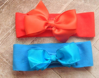 Baby Girl Headbands // Coral & Blue  - Set of 2