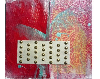 Mixed Media Collage Diptych on Wood