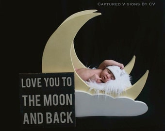 Moon Photo Prop, Newborn Infant Toddler Photography Prop, Lofted Woodworks
