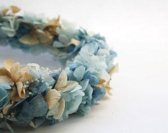Floral crown, Blue flower crown, bridal headpiece, bridal crown, natural flower crown, bridesmaids crown , flowerpower, preserved flower