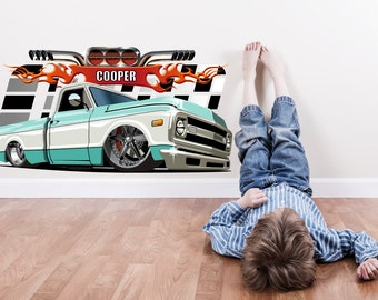 Hot Rod Car with Custom Name Wall Sticker Decal