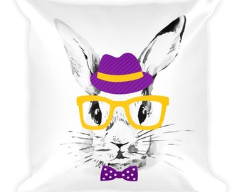 Hipster Rabbit Throw Pillow in Purple