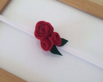 Deep Red Triple Rosette Headband