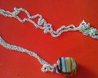 Silver Tone Fine Rope Chain With Beautiful Colored Glass Bead.