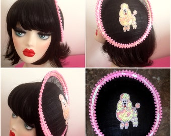 Pillbox Hat Fascinator Pink Poodle Sequins Caniche Millinery Bibi Fifties