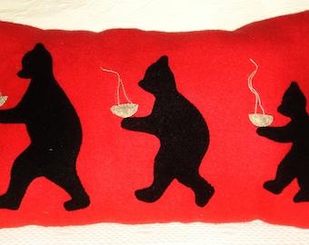 The Three Bears Pillow, Folk Art, Primitive