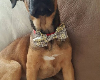 Gray and yellow patterned bow tie