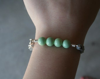 Seafoam Green and Grey Braclet