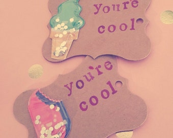 You're Cool handmade gift tags,cute pun,funny tags set of two