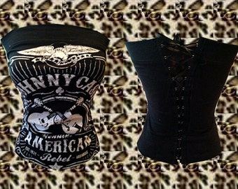 Country/ Rock/ Western/ Johnny Cash Tube Top Sz. S, M, L, XL