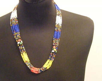 Medium Zulu Natural Beads Multicoloured Necklace Blue and Yellow Multistrand African Style