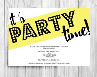 Printable Wedding Shower Invite, Party Invitation, Party Invite, It's Party Time, Party Invitation Template, Download, Digital