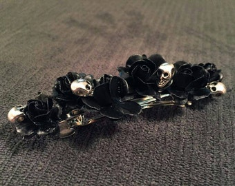 Skull and Flower French Barrette