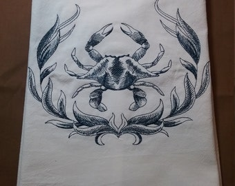 Embroidered  Blue Crab flour sack towel