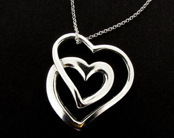 Sterling Silver Large Double Heart Design Necklace & Chain