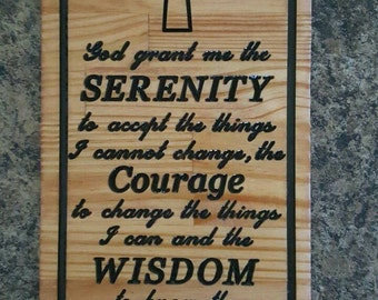 Serenity Prayer Carved Wood Plaque