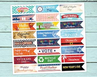 Teacher Planner Stickers, Holidays, Mambi Teacher Happy Planner,  Erin Condren, School, Maestra, Escuela, Special Days