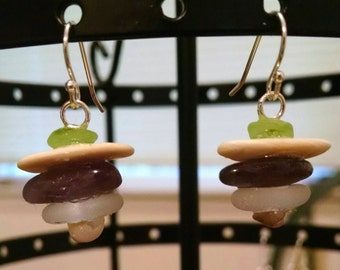 Amethyst Bead with Seashells and Seaglass Stacked Sterling Silver Fish Hook Earrings