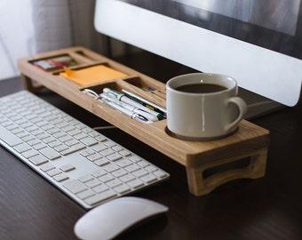 Ash Wood Office Desk Organizer Desktop Shelf Office Organizer Home  Organizer Keyboard Rack Wooden Desktop Storage