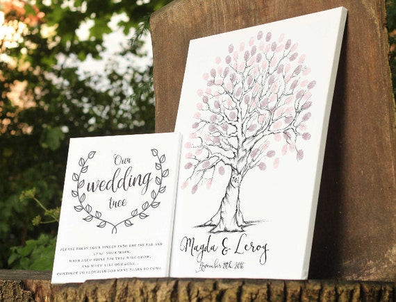 Wedding guest book alternative, Hand Drawn Fingerprint Wedding Tree ...
