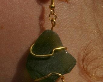 Seaglass and Carnelian drop earrings