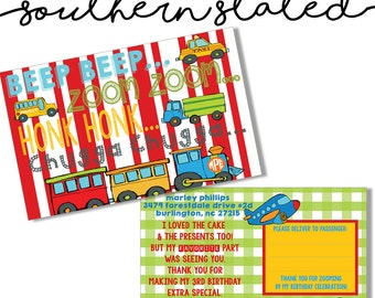 Transportation Party Thank You Cards
