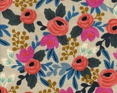 Rosa Floral Natural || Les Fleurs Collection by Rifle Paper Co for Cotton + Steel  || Half or One Yard || Cotton Linen Canvas