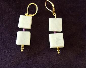 Amazonite and Seed beads earrings