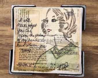 Original mixed media girl with scripture quote.