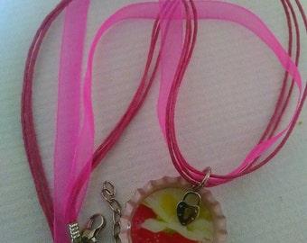 Bottle cap, resin pendent & necklace